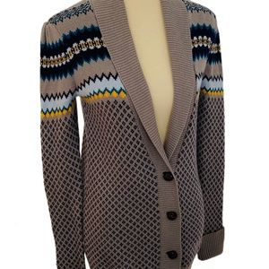 Roxy Gray Fair Isle Relaxed Cardigan Sweater